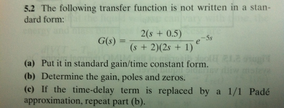Solved The Following Transfer Function Is Not Written In