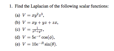 Find the Laplacian of the following scalar functio