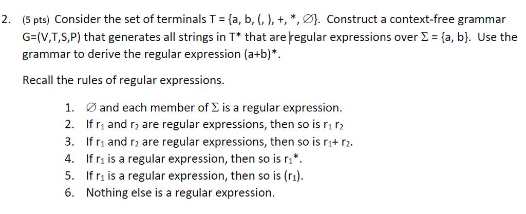 context free grammar to regular expression