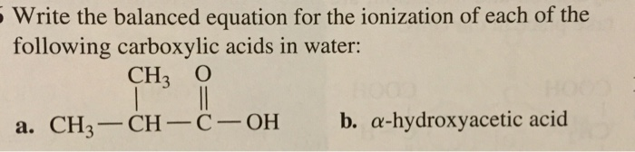 Write a balanced equation for the ionization of hydrochloric acid in water