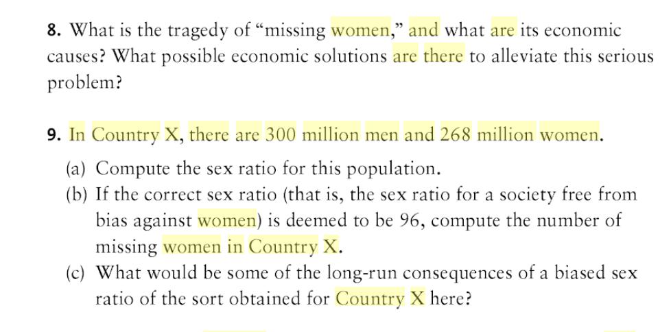 Is sex an economic problem