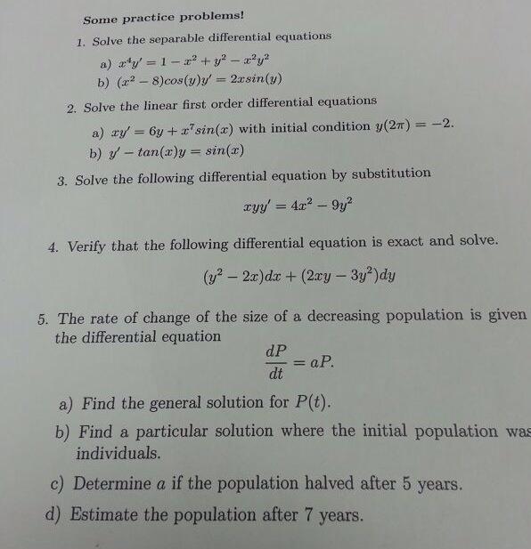Separable equations mixing problem algebra