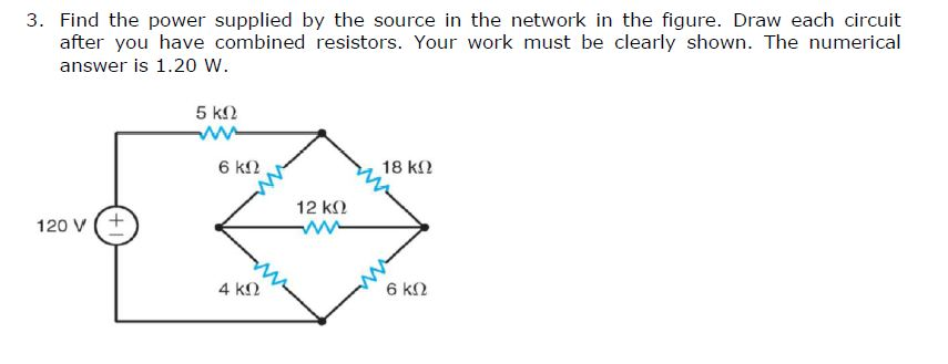 Find the power supplied by the source in the netwo