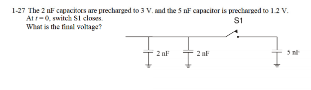 The 2 nF capacitors are precharged to 3 V, and the
