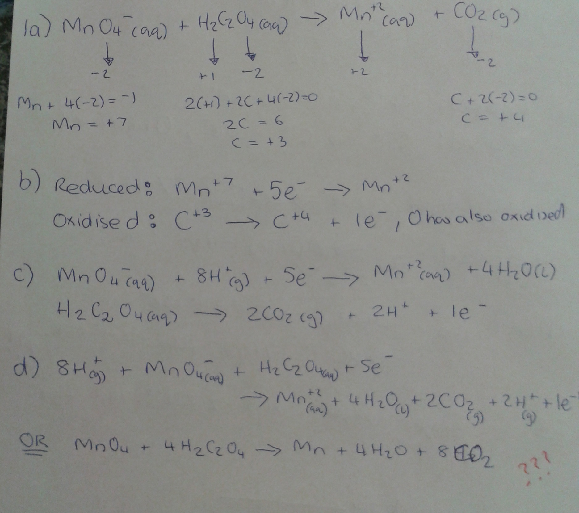 moles of h2c2o4 which reacted with mno4