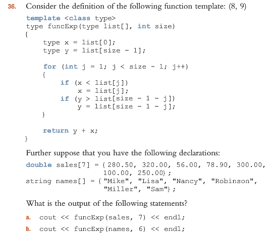 what is template function - solved 35 consider the definition of the following funct