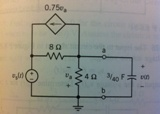 Determine the voltage v(t) for t greater than or e