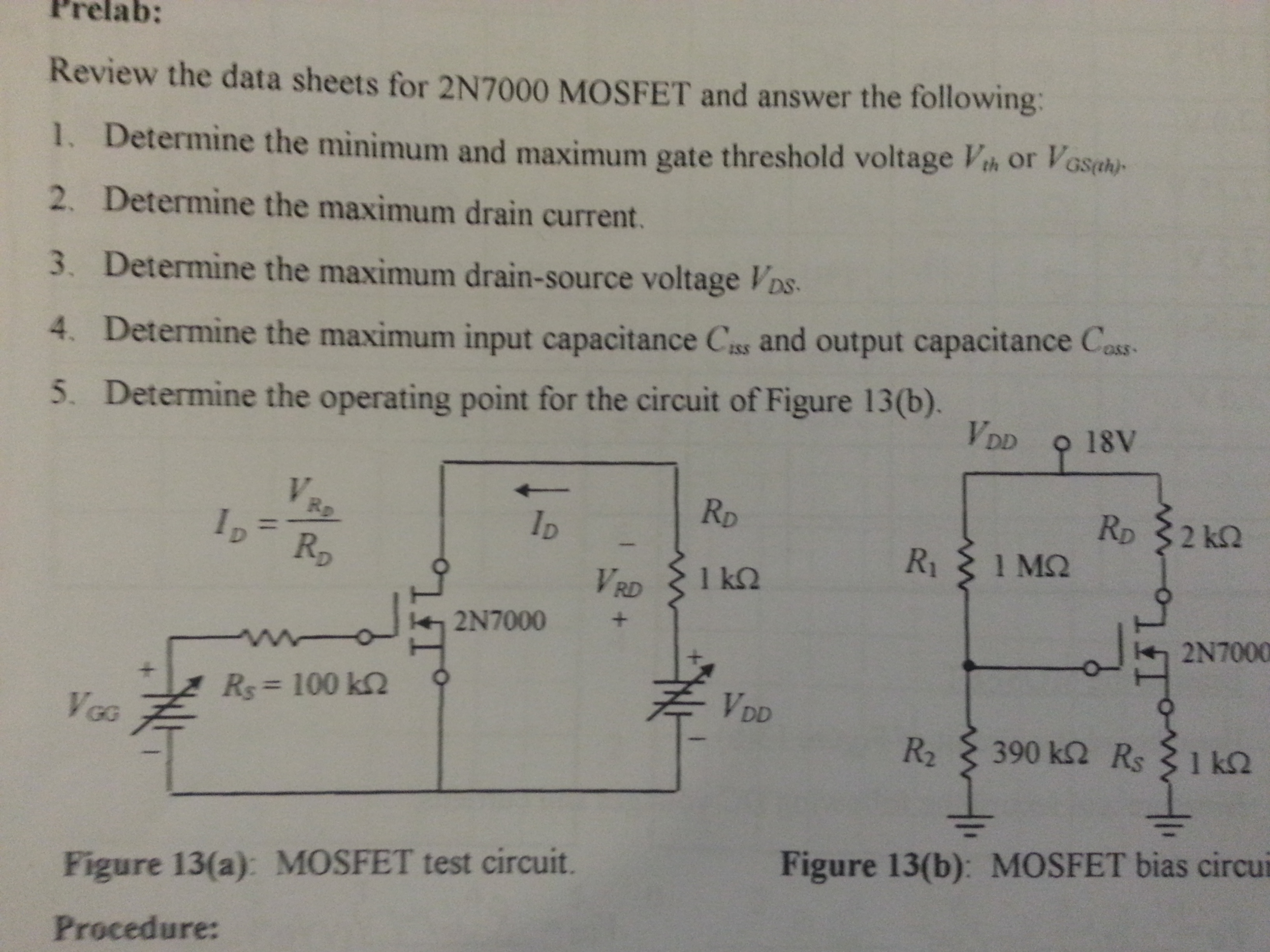 Review The Data Sheets For 2n7000 Mosfet And Answe Test Circuit Question Answer Following Determine Minimum Max