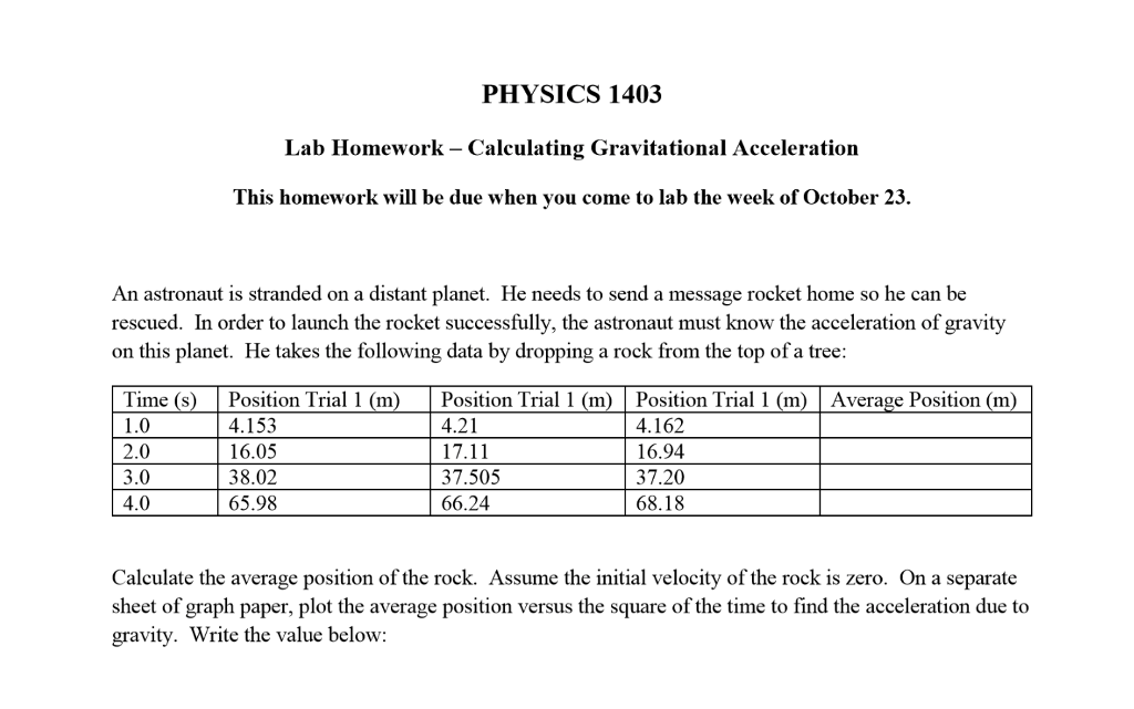 Solved: PHYSICS 140:3 Lab Homework Calculating Gravitation