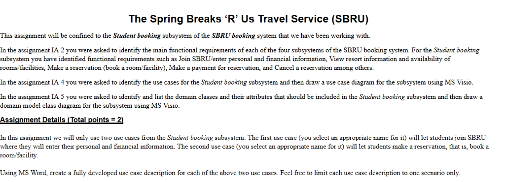 spring breaks r us travel service use case diagram