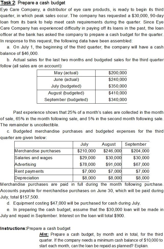 business plan cash budget questions