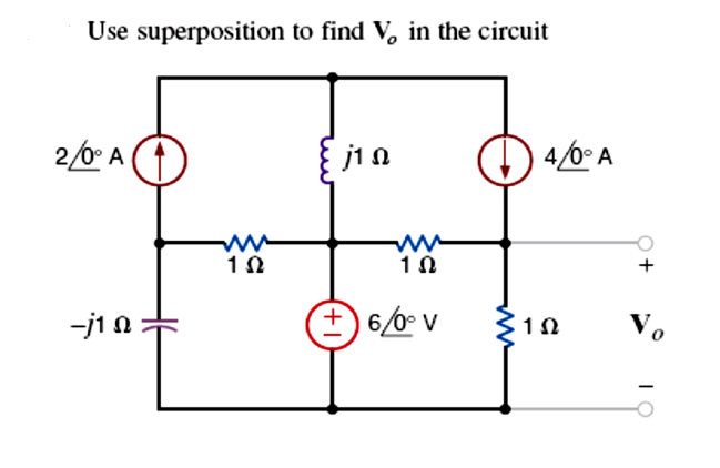 Use superposition to find Vo in the circuit