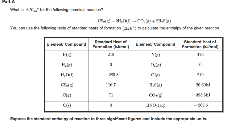 Solved: What Is ΔHrxn For The Following Chemical Reaction...