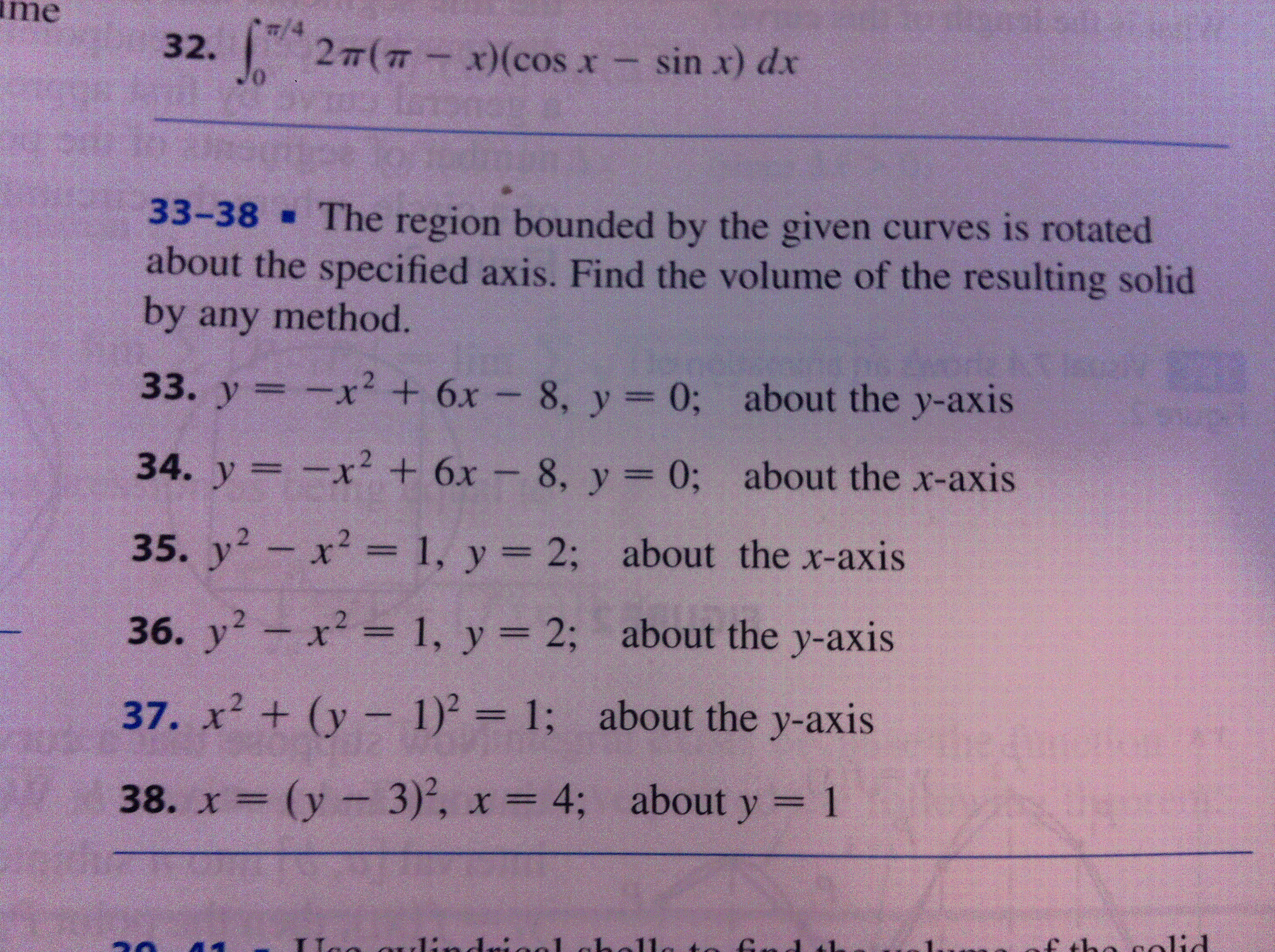 2pi(pix)(cosxsinx)dx The Region Bounded By Calculus Area Between Curves