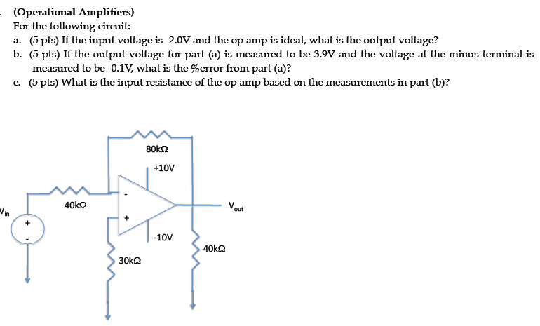 For the following circuit: If the input voltage i