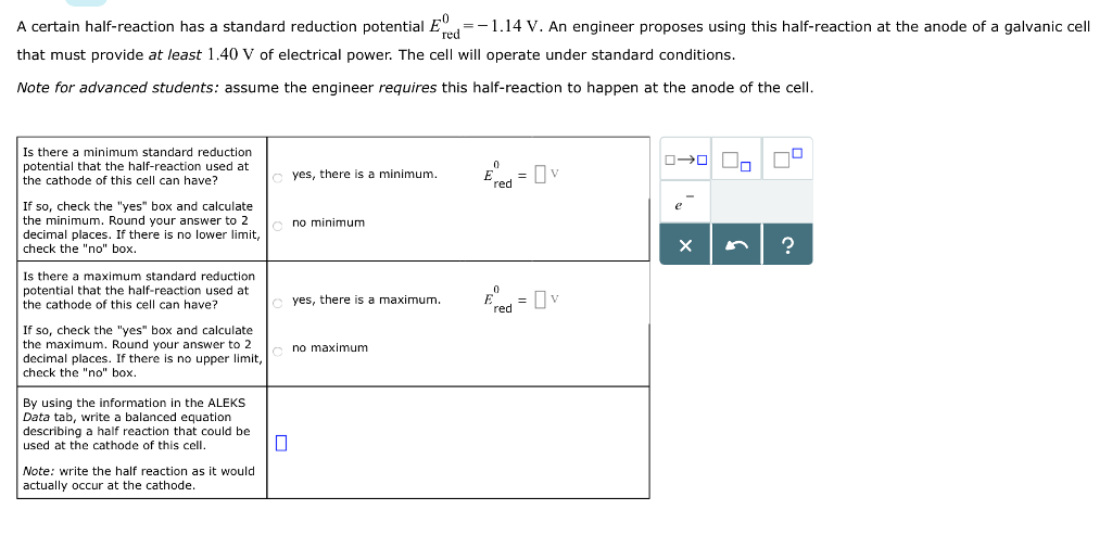 calculate the electrode potentials of the following half-cells