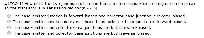 How must the two junctions of an npn transistor in