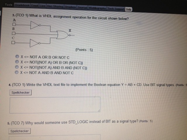 What is VHDL assignment operation for the circuit