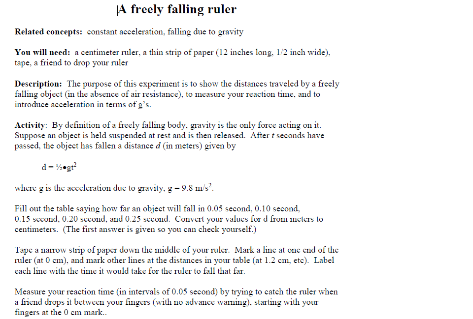 Introduction to Free Fall