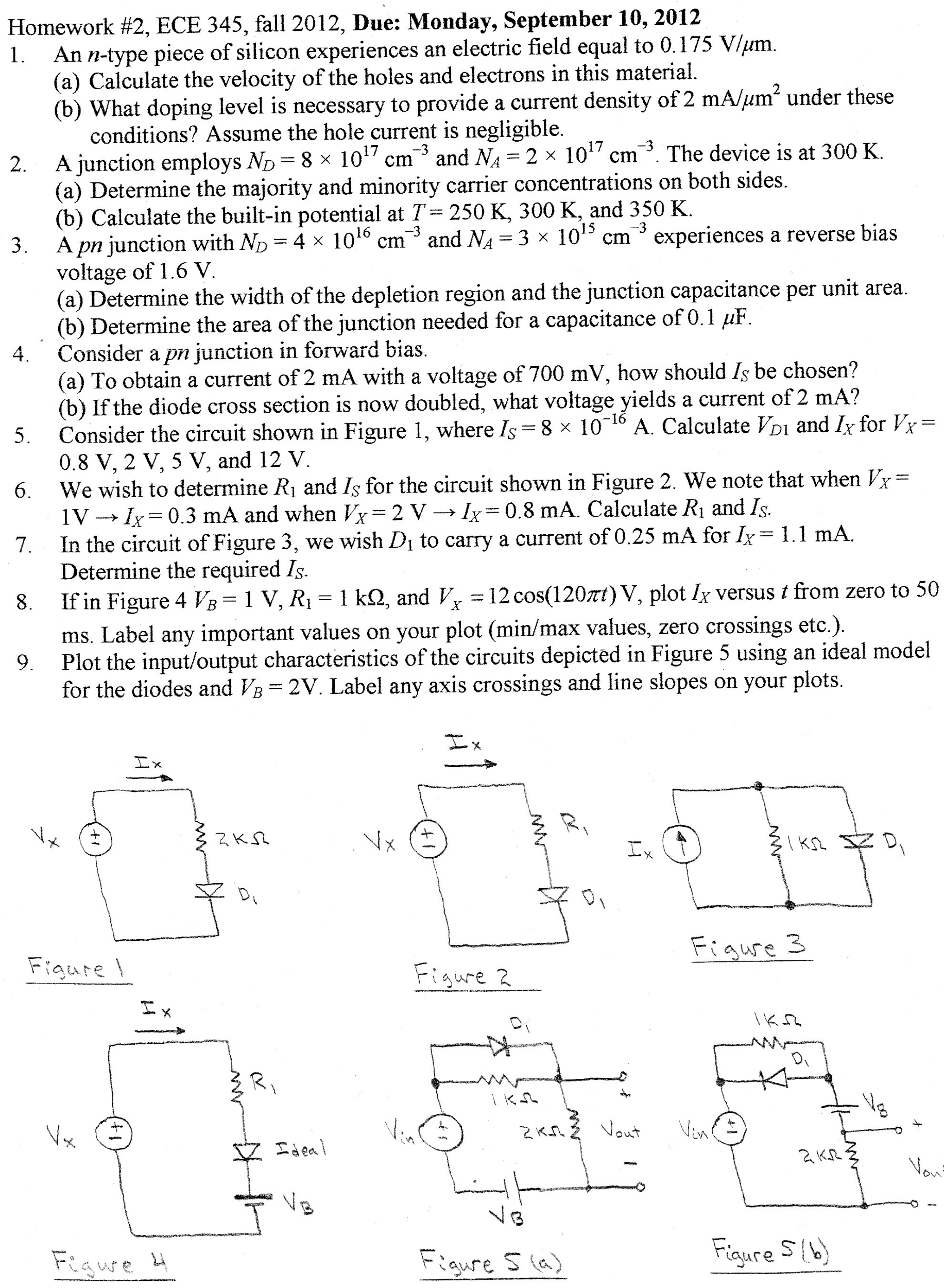 Homework #2, ECE 345, fall 2012, Due: Monday, Sept