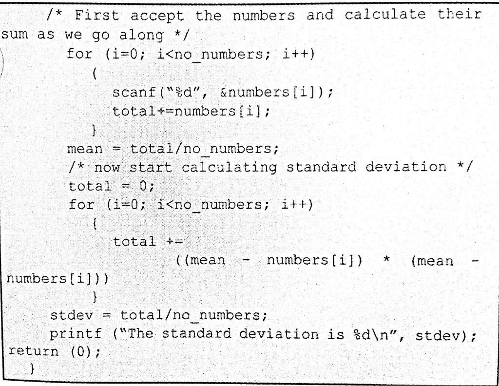 c++ program to calculate variance and standard deviation of n numbers