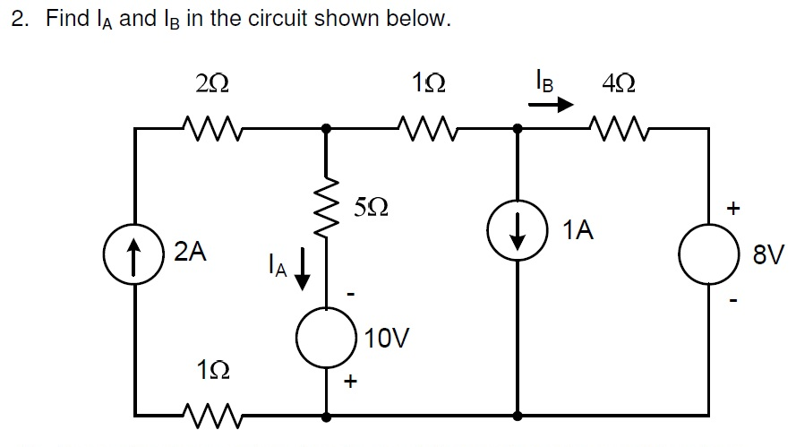 Find IA and Ib in the circuit shown below.