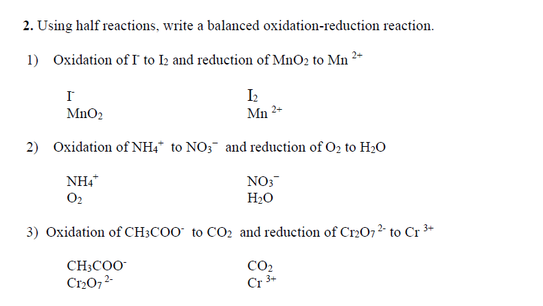 redox reactions assessed homework