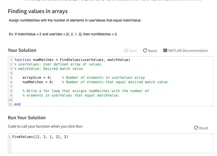 assign words to make sure you matrix matlab