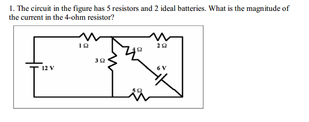 solved  the circuit in the figure has 5 resistors and 2 id