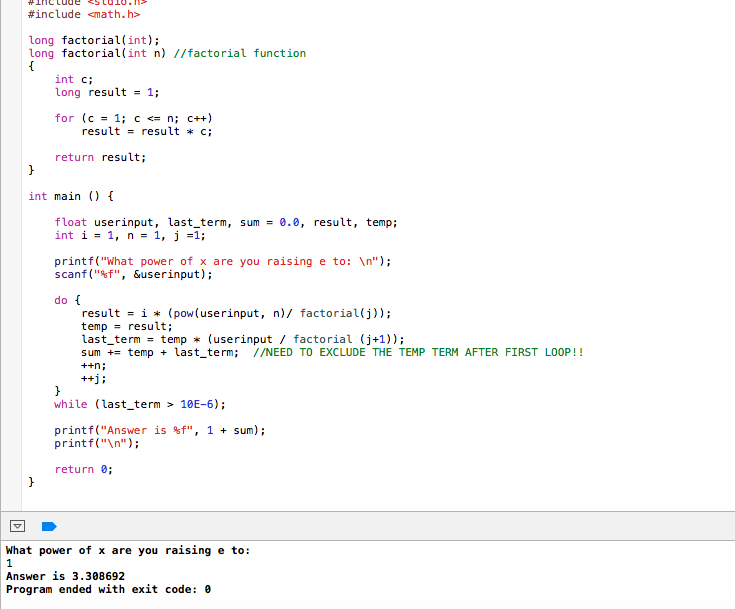 c program for exponential function