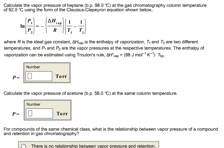 equation to show relationship between pressure and temperature