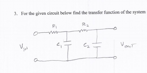 For the given circuit below find the transfer func