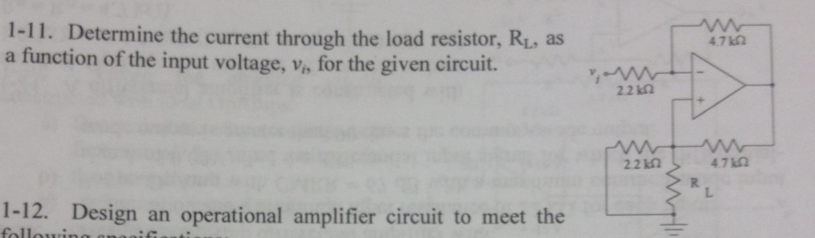 Determine the current through the load resistor, R