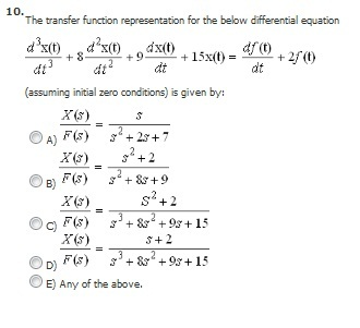 The transfer function representation for the below